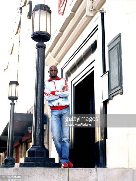 Arsenal's Patrick Vieira on the steps of the East Stand at Arsenal Stadium on September 16 2004 in London England