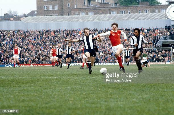 Arsenal's Paul Vaessen breaks through the West Bromwich Albion defence