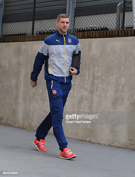 Arsenal's Per Mertesacker arrives at Selhurst Park before the Barclays Premier League match between Crystal Palace and Arsenal on February 21 2015 in...