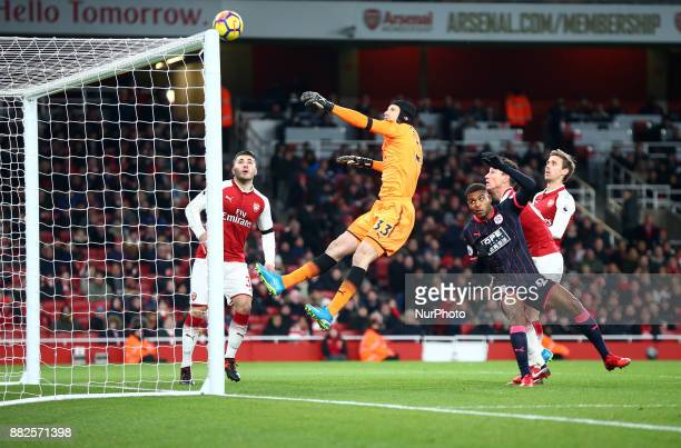 Arsenal's Petr Cech during Premier League match between Arsenal and Huddersfield Town at Emirates Stadium London England on 29 Nov 2017