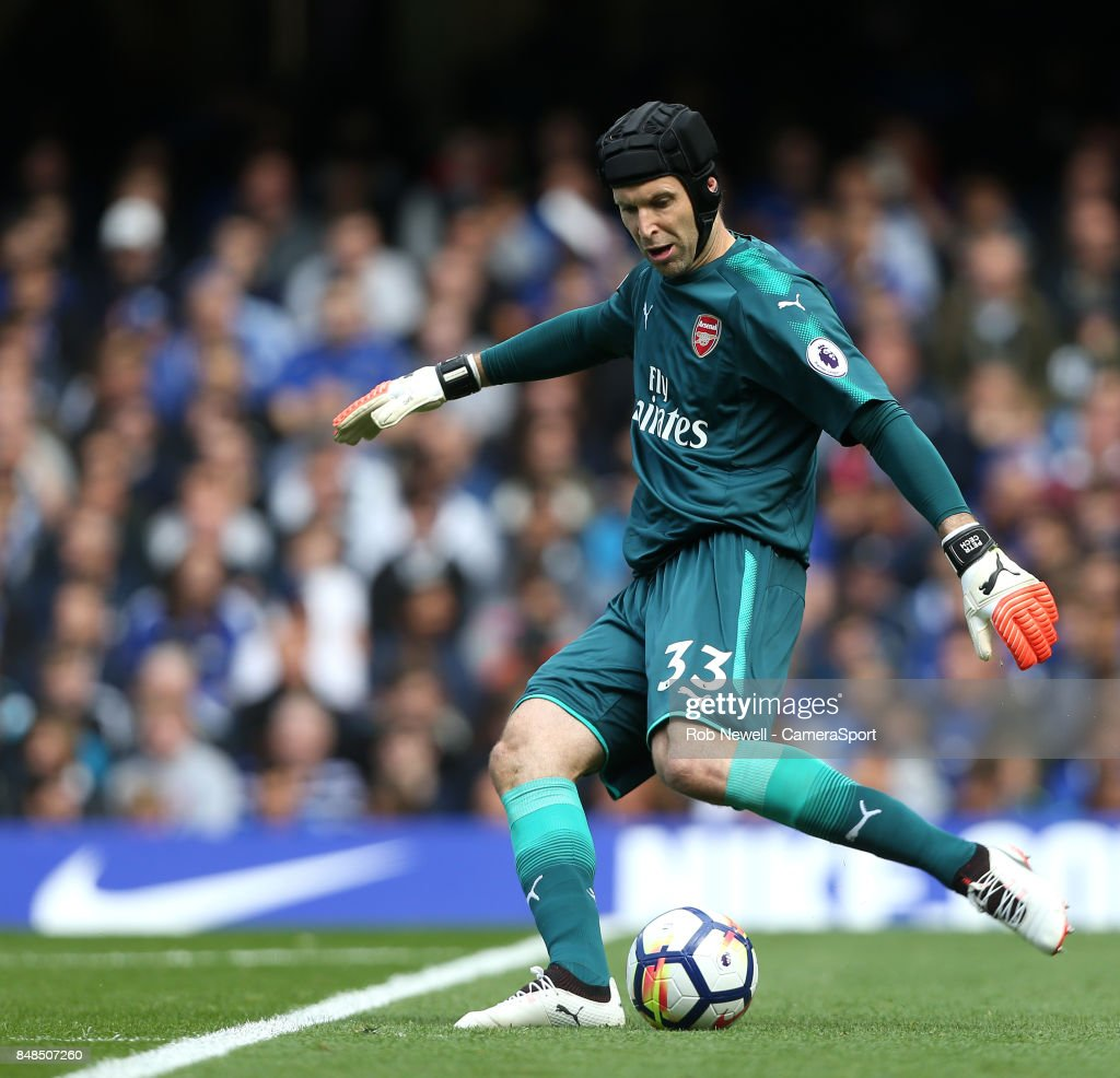 Arsenal's Petr Cech during the Premier League match between Chelsea and Arsenal at Stamford Bridge on September 17, 2017 in London, England.