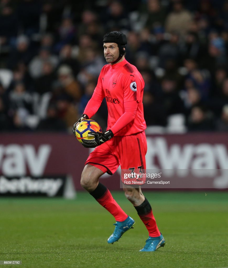 Arsenal's Petr Cech during the Premier League match between West Ham United and Arsenal at London Stadium on December 13, 2017 in London, England.