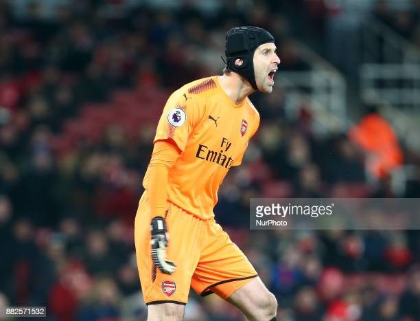 Arsenal's Petr Cech in action during Premier League match between Arsenal and Huddersfield Town at Emirates Stadium London England on 29 Nov 2017