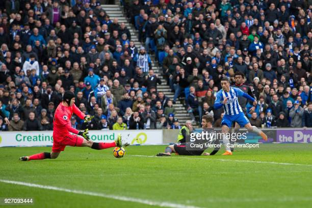 Arsenal's Petr Cech saves the shot of Brighton Hove Albion's Anthony Knockaert during the Premier League match between Brighton and Hove Albion and...