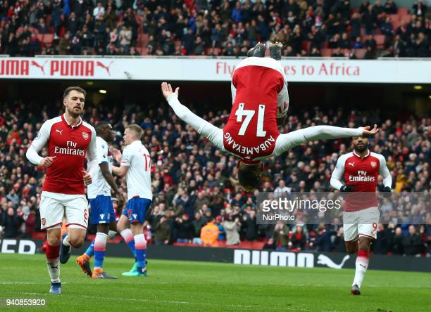 Arsenal's PierreEmerick Aubameyang celebrates scoring his sides first goal during English Premier League match between Arsenal against Stoke City at...