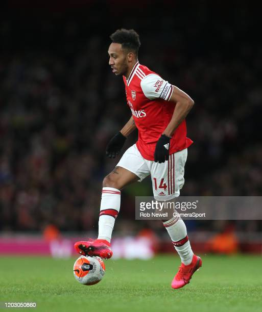 Arsenal's PierreEmerick Aubameyang during the Premier League match between Arsenal FC and Everton FC at Emirates Stadium on February 23 2020 in...
