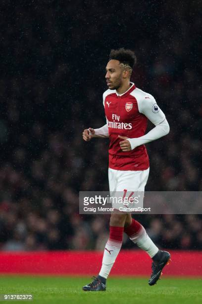Arsenal's PierreEmerick Aubameyang during the Premier League match between Arsenal and Everton at Emirates Stadium on February 3 2018 in London...