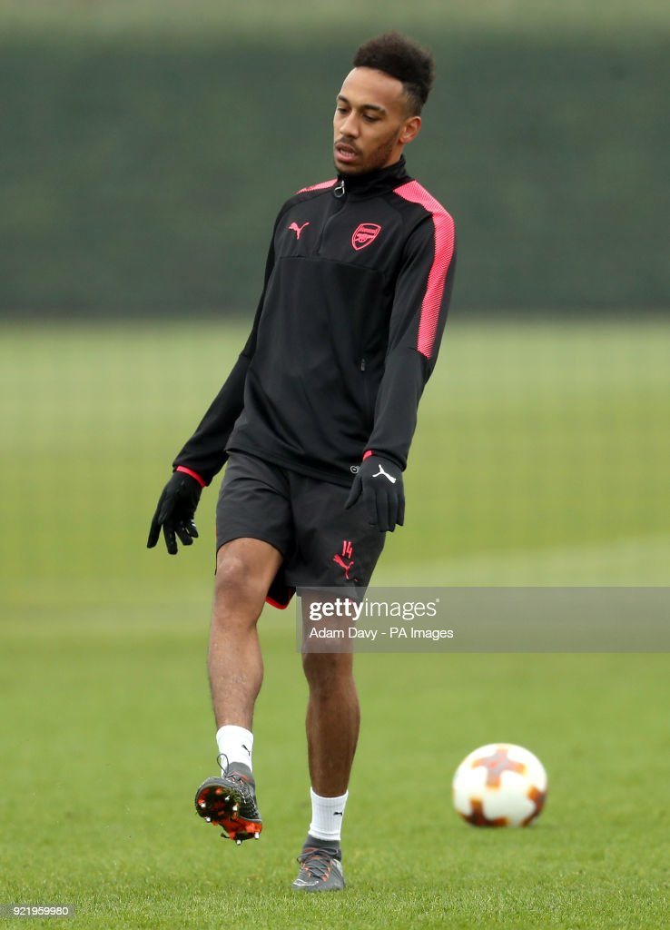 Arsenal's Pierre-Emerick Aubameyang during the training session at London Colney, Hertfordshire.