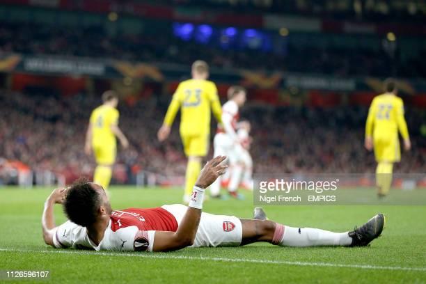 Arsenal's PierreEmerick Aubameyang lies on the pitch Arsenal v FC BATE Borisov UEFA Europa League Round of 32 Second Leg Emirates Stadium