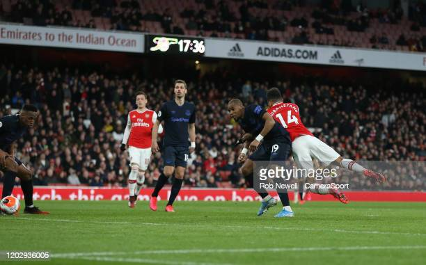 Arsenal's PierreEmerick Aubameyang scores his side's third goal during the Premier League match between Arsenal FC and Everton FC at Emirates Stadium...