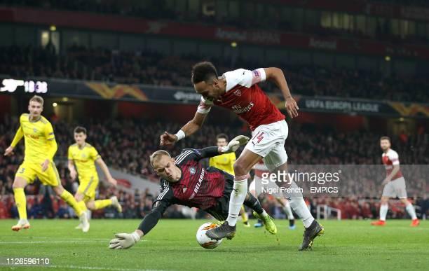Arsenal's PierreEmerick Aubameyang takes a shot on goal Arsenal v FC BATE Borisov UEFA Europa League Round of 32 Second Leg Emirates Stadium