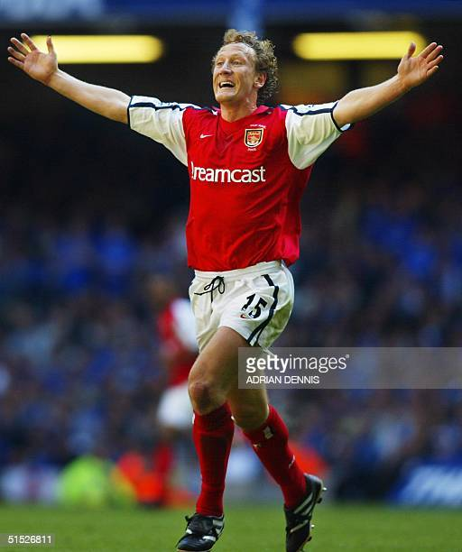 Arsenal's Ray Parlour celebrates after he scored the opening goal during the The FA Cup final against Chelsea at The Millenium Stadium in Cardiff 04...