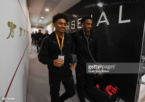 Arsenal's Reiss Nelson and Joe Willock in the changing room before the UEFA Europa League group H match between Arsenal FC and BATE Borisov at...