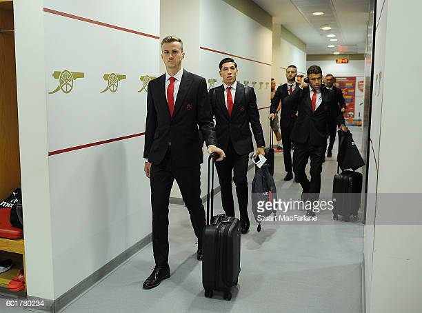 Arsenal's Rob Holding and Hector Bellerin before the Premier League match between Arsenal and Southampton at Emirates Stadium on September 10 2016 in...