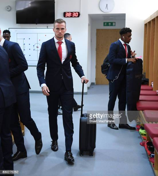 Arsenal's Rob Holding in the home changing room before the Premier League match between Arsenal and Leicester City at Emirates Stadium on August 11...