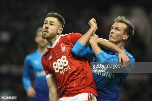 Arsenal's Rob Holding locks horns with Forest's Ben Brereton during The Emirates FA Cup Third Round match between Nottingham Forest and Arsenal at...