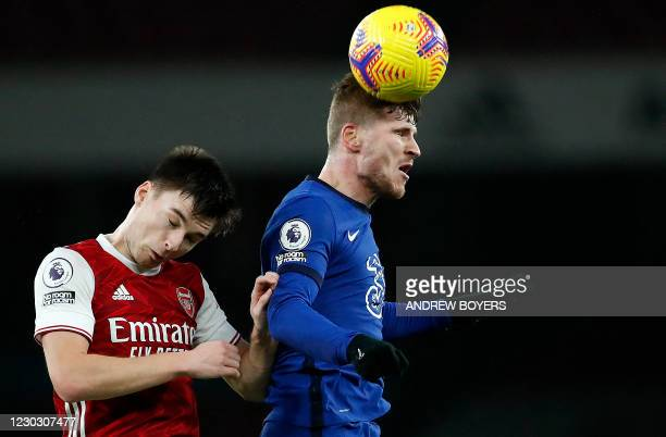 Arsenal's Scottish defender Kieran Tierney and Chelsea's German striker Timo Werner compete during the English Premier League football match between...