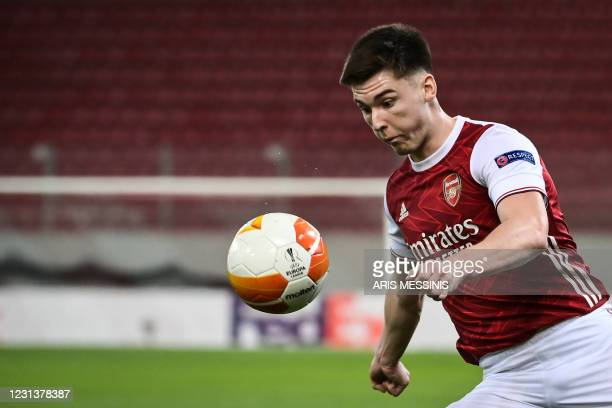 Arsenal's Scottish defender Kieran Tierney eyes the ball during the UEFA Europa League 32 Second Leg football match between Arsenal and Benfica at...