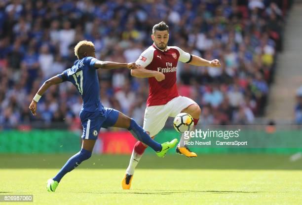 Arsenal's Sead Kolasinac and Chelsea's Charly Musonda JR during the FA Community Shield match between Arsenal and Chelsea at Wembley Stadium on...