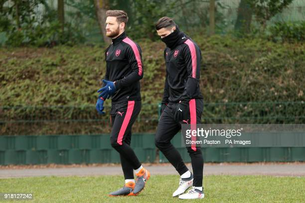 Arsenal's Shkodran Mustafi and Sead Kolasinac during the training session at London Colney Hertfordshire PRESS ASSOCIATION Photo Picture date...