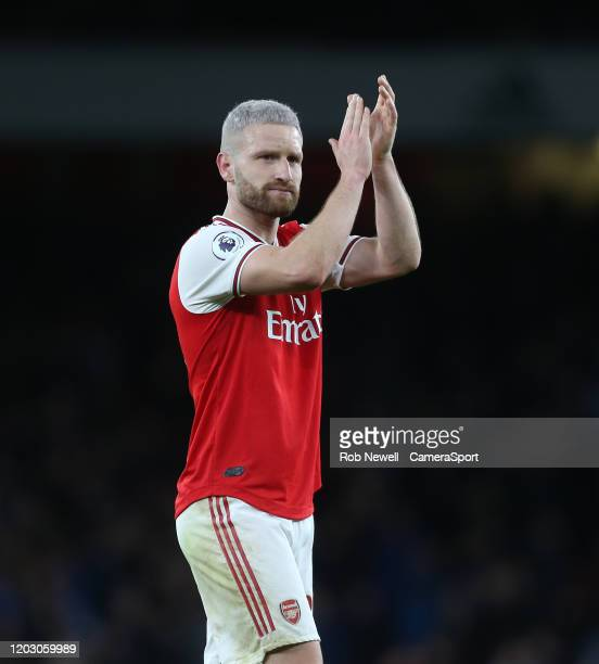 Arsenal's Shkodran Mustafi during the Premier League match between Arsenal FC and Everton FC at Emirates Stadium on February 23 2020 in London United...