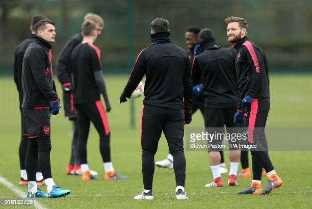 Arsenal's Shkodran Mustafi during the training session at London Colney Hertfordshire PRESS ASSOCIATION Photo Picture date Wednesday February 14 2018...