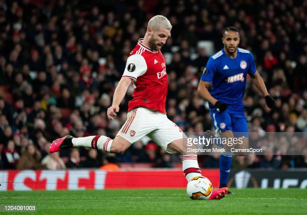 Arsenal's Shkodran Mustafi during the UEFA Europa League round of 32 second leg match between Arsenal FC and Olympiacos FC at Emirates Stadium on...