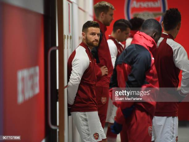 Arsenal's Shkodran Mustafi in the Arsenal changing room before the Premier League match between Arsenal and Crystal Palace at Emirates Stadium on...