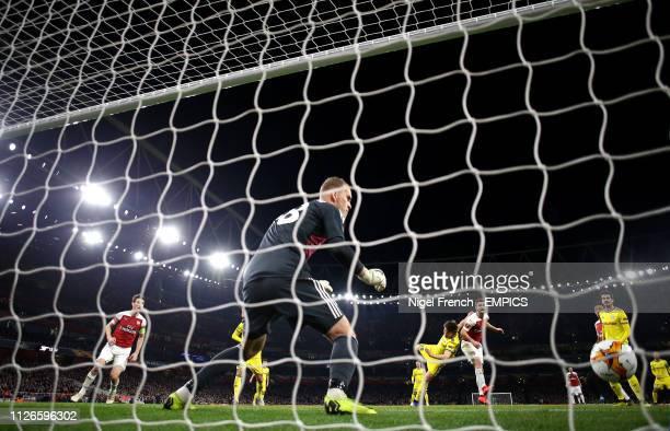 Arsenal's Shkodran Mustafi scores his side's second goal of the game Arsenal v FC BATE Borisov UEFA Europa League Round of 32 Second Leg Emirates...