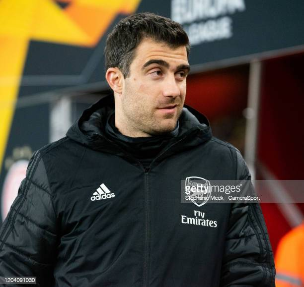 Arsenal's Sokratis Papastathopoulos during the UEFA Europa League round of 32 second leg match between Arsenal FC and Olympiacos FC at Emirates...