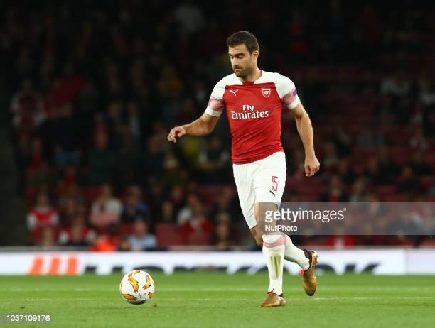 Arsenal's Sokratis Papastathopoulos in action during UAFA Europa League Group E between Arsenal and FC Vorskla Poltava at Emirates stadium London...