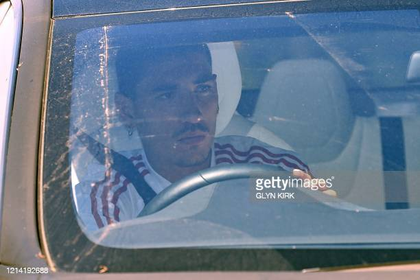 Arsenal's Spanish defender Hector Bellerin arrives at at Arsenal's Colney training centre north of London on May 20 2020 as training continues for...