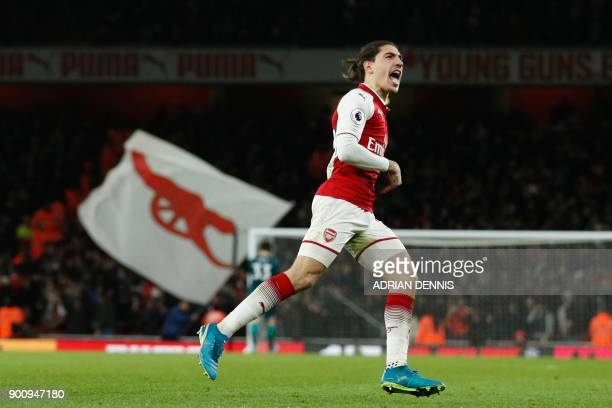 Arsenal's Spanish defender Hector Bellerin celebrates after scoring their second goal during the English Premier League football match between...