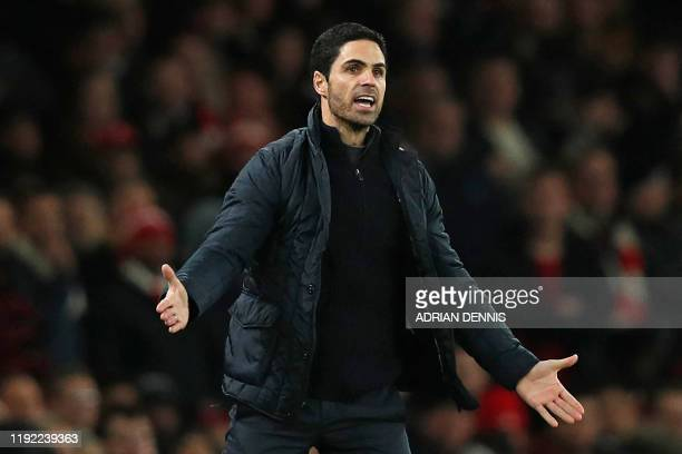 Arsenal's Spanish head coach Mikel Arteta gestures on the touchline during the English FA Cup third round football match between Arsenal and Leeds...