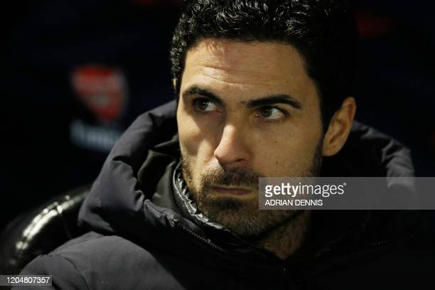 Arsenal's Spanish head coach Mikel Arteta is seen ahead of the English FA Cup fifth round football match between Portsmouth and Arsenal at Fratton...