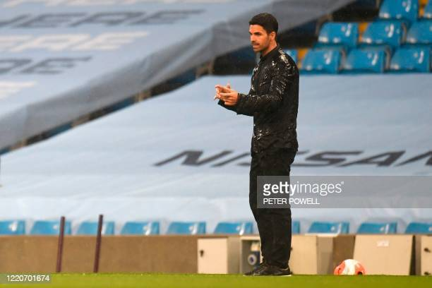 Arsenal's Spanish head coach Mikel Arteta looks on during the English Premier League football match between Manchester City and Arsenal at the Etihad...