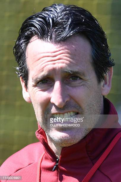 Arsenal's Spanish head coach Unai Emery attends a training session at Arsenal's London Colney training centre in St. Albans on May 21, 2019 ahead of...