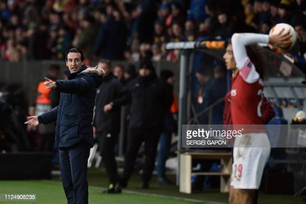 Arsenal's Spanish head coach Unai Emery gestures during the UEFA Europa League round of 32 first leg football match between FC BATE Borisov and...