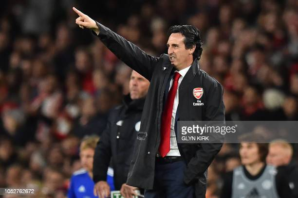 Arsenal's Spanish head coach Unai Emery gestures on the touchline during the English Premier League football match between Arsenal and Leicester City...