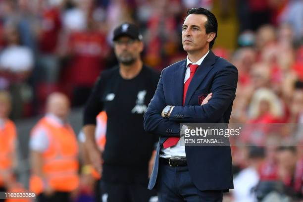 Arsenal's Spanish head coach Unai Emery looks on during the English Premier League football match between Liverpool and Arsenal at Anfield in...