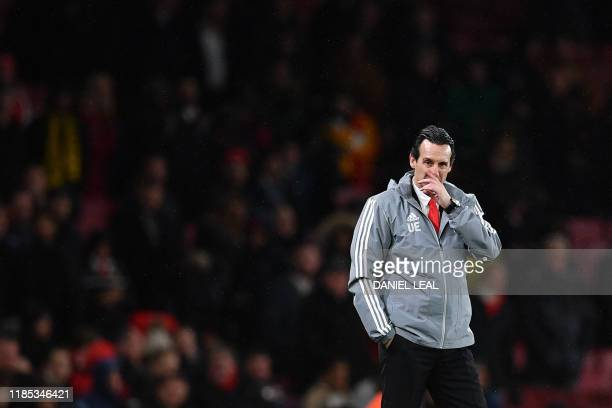 TOPSHOT Arsenal's Spanish head coach Unai Emery reacts during their UEFA Europa league Group F football match between Arsenal and Eintracht Frankfurt...
