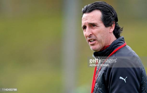 Arsenal's Spanish head coach Unai Emery takes a training session at Arsenal's Colney training centre in St. Albans on May 1, 2019 on the eve of their...