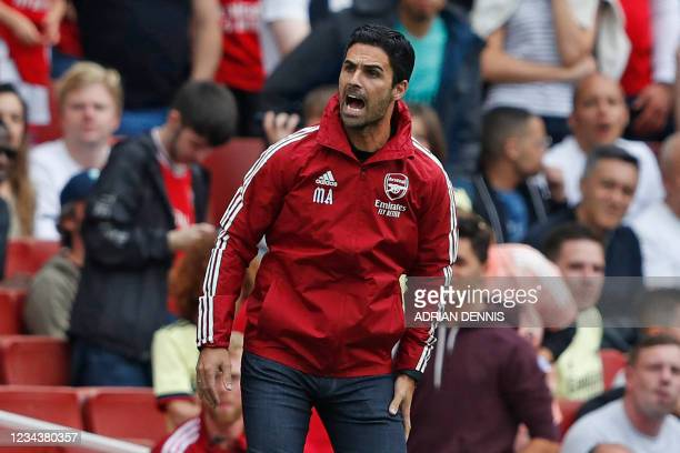 Arsenal's Spanish manager Mikel Arteta gestures on the touchline during the pre-season friendly football match between Arsenal and Chelsea at The...