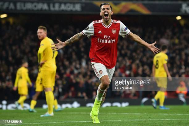 Arsenal's Spanish midfielder Dani Ceballos celebrates after scoring their fourth goal during the UEFA Europa League Group F football match between...
