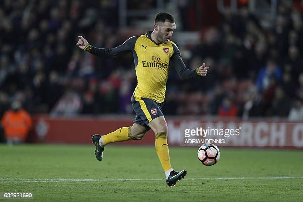 Arsenal's Spanish striker Lucas Perez runs at goal but fails to score during the English FA Cup fourth round football match between Southampton and...