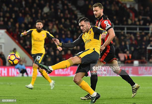 Arsenal's Spanish striker Lucas Perez shoots to score their second goal during the English Premier League football match between Bournemouth and...