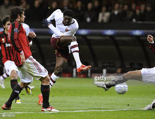 Arsenal's striker of Togo Emmanuel Adebayor kicks the ball during the UEFA Champions League quarterfinal match between AC Milan and Arsenal at San...