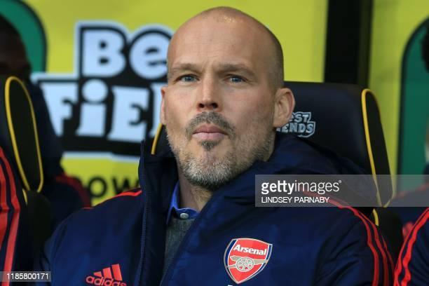 Arsenal's Swedish interim head coach Freddie Ljungberg awaits kick off in the English Premier League football match between Norwich City and Arsenal...