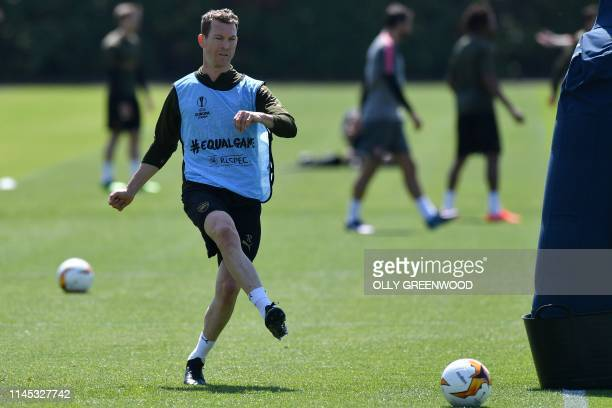 Arsenal's Swiss defender Stephan Lichtsteiner attends a training session at Arsenal's Colney training centre in St. Albans on May 21, 2019 ahead of...
