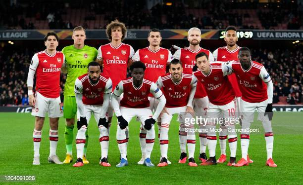 Arsenals team line up during the UEFA Europa League round of 32 second leg match between Arsenal FC and Olympiacos FC at Emirates Stadium on February...